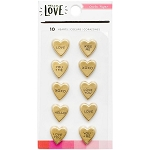 Hello Love Gold Heart Resin Stickers