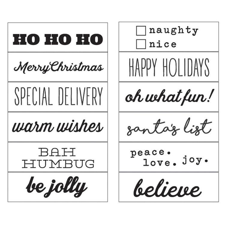 classic christmas words phrases rotary stamp
