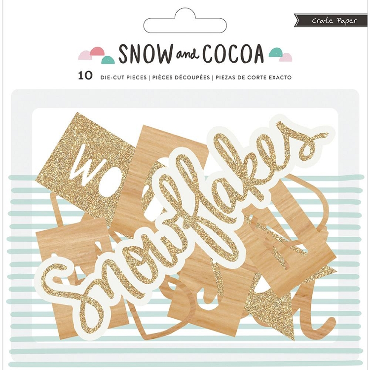 Snow and Cocoa Phrases Die Cuts