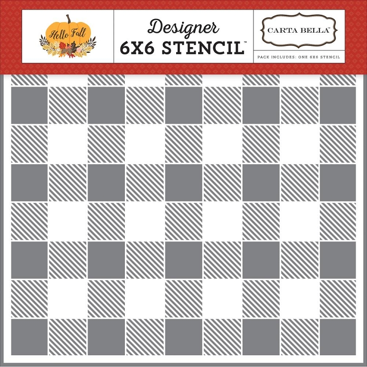 Hello Fall Buffalo Plaid Stencil