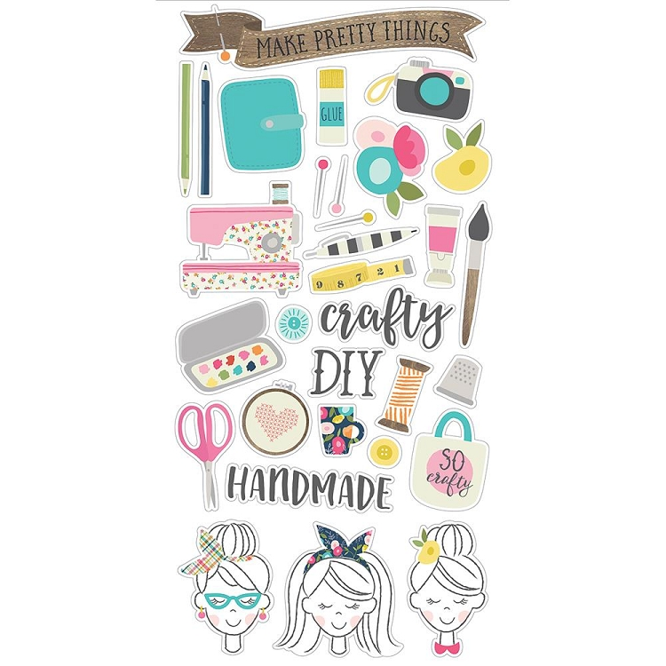 Crafty Girl Chipboard Stickers