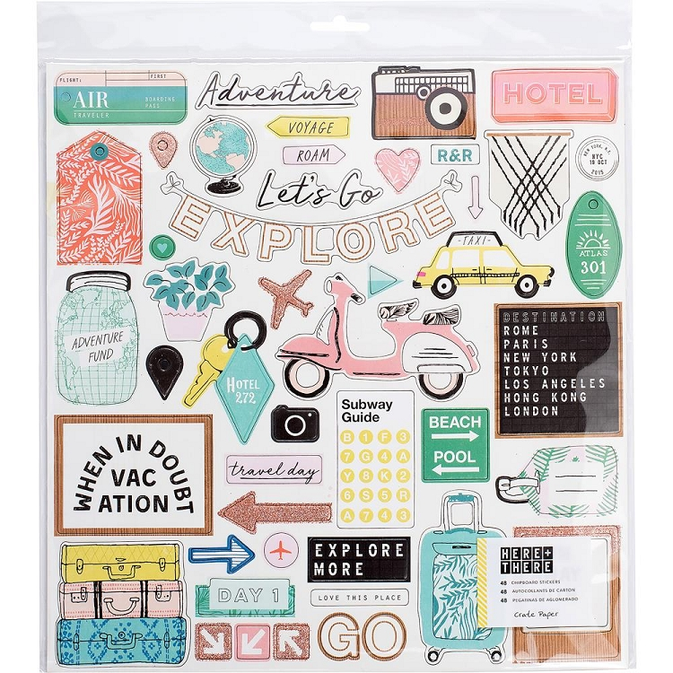 Here + There 12x12 Chipboard Stickers