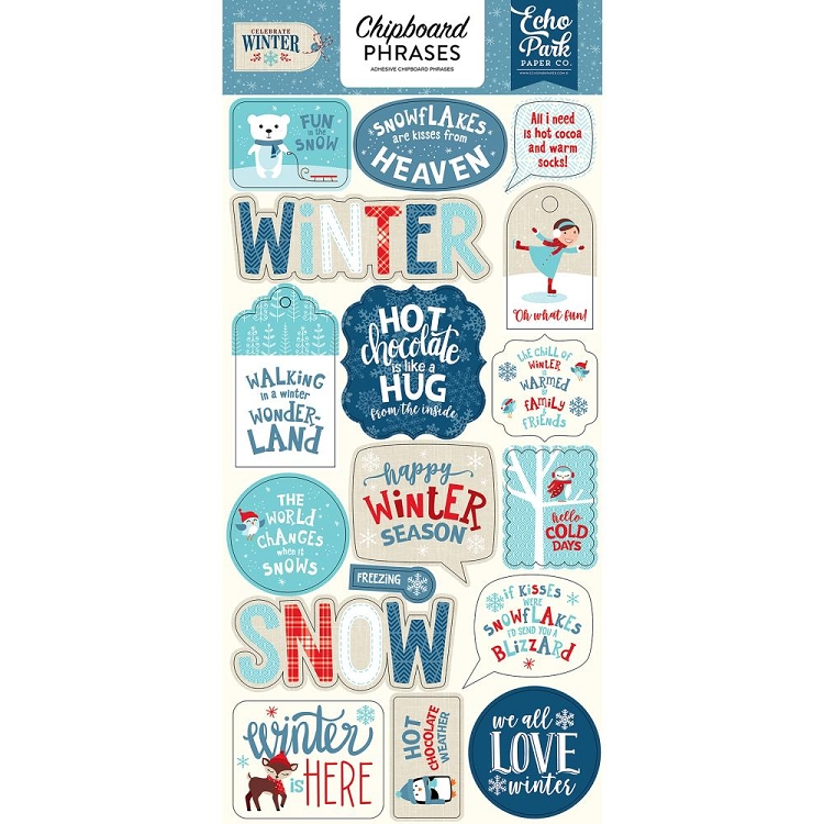 Celebrate Winter Phrases Chipboard Stickers