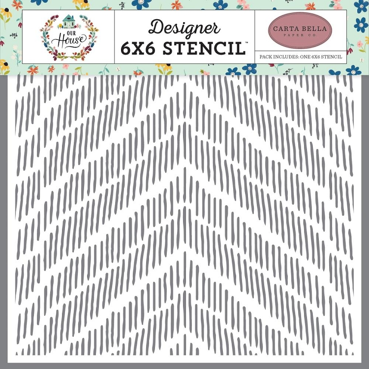 Our House Distressed Chevron Stencil