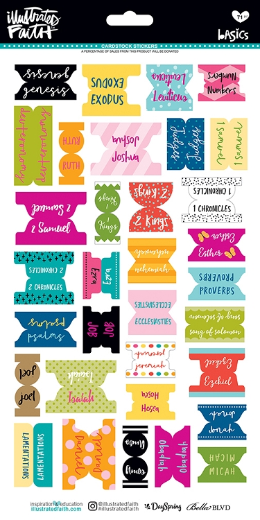 Bible Books Tabs Colorful Stickers