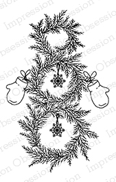 Pine Snowman Wreath Stamp