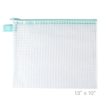 Aqua Large Zippered Vinyl Mesh Pouch
