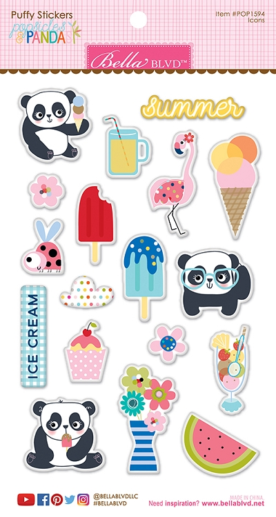 Popsicles & Pandas Icon Puffy Stickers