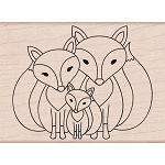 Fox Family Wood Stamp