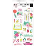 Confetti Wishes Birthday Puffy Stickers
