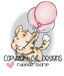 3 Balloons Kitty Rubber Stamp
