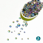 Bubble Bath - Flat-Backed Rainbow Smooth Bead Mix