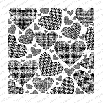 Textured Hearts Background Stamp