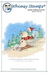 Snowman's Sled Ride Rubber Cling Stamp