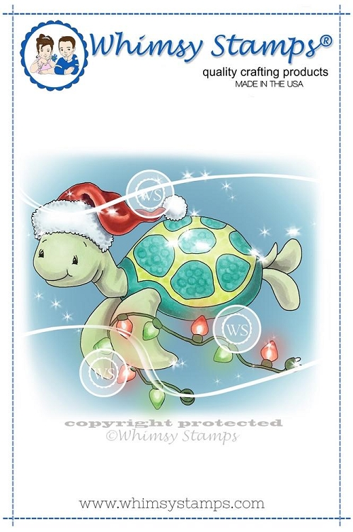 Turtle Christmas Lights Rubber Cling Stamp