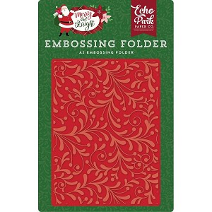 Merry and Bright Holly Flourish Embossing Folder