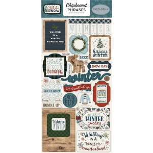 Let It Snow Phrases Chipboard Stickers