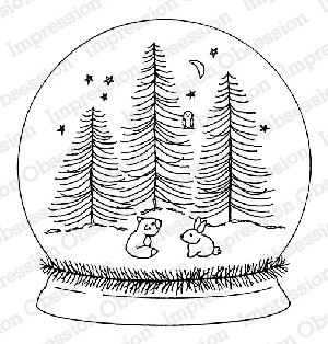 Forest Friends Snow Globe Stamp
