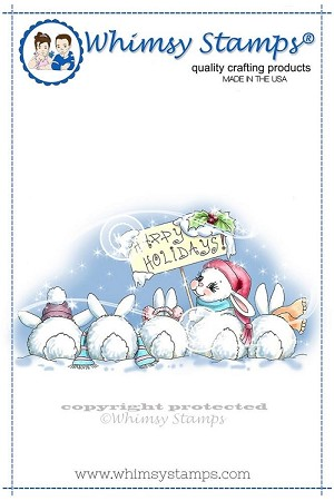 Christmas Bunny Row Rubber Cling Stamp