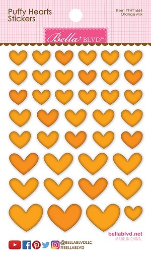 Heart Puffy Stickers Orange Mix
