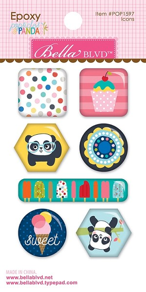 Popsicles & Pandas Icons Epoxy Stickers