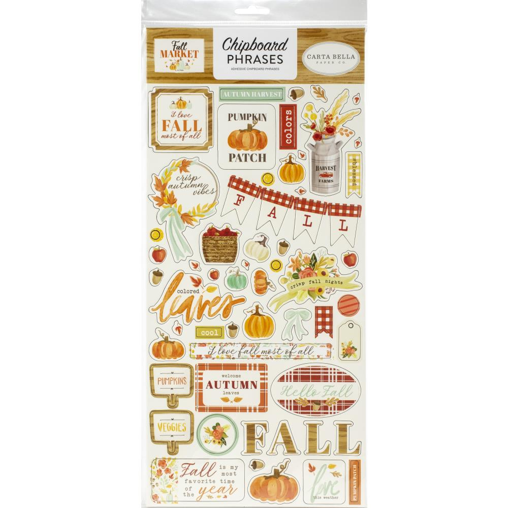 Fall Market Phrases Chipboard
