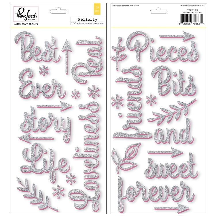 Felicity Glitter Word Foam Stickers