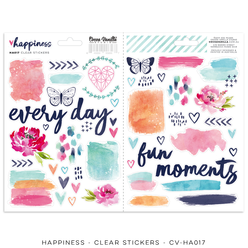 Happiness Clear Stickers