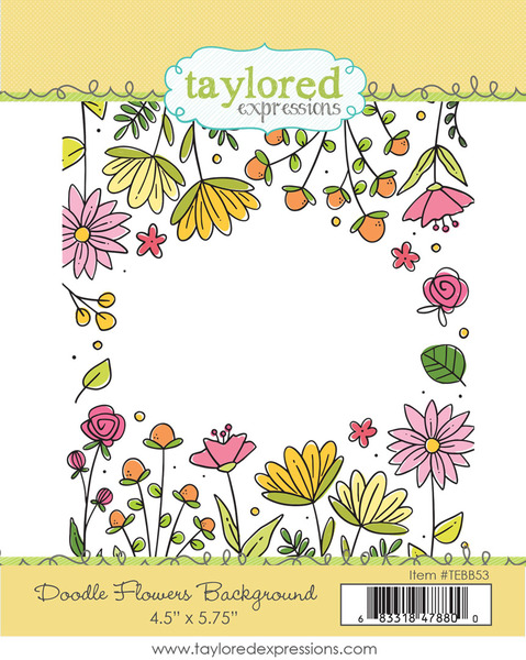 Doodle Flowers Background Stamp