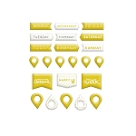 Gold Pins & Banners Puffy Stickers