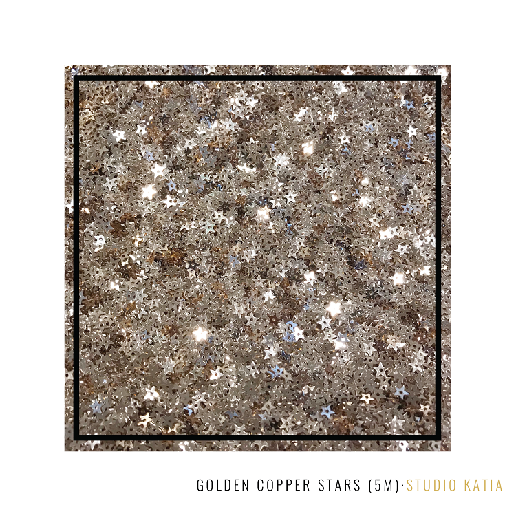 Golden Copper Stars Sequins