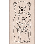 Bear Family Wood Stamp