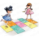 Tiny Townies Playing Hopscotch Stamp