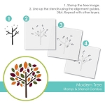 Modern Tree Stamp & Stencil Combo
