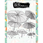 Abstract Umbrellas Background Stamp