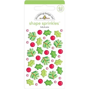 Christmas Magic Holly & Pine Enamel Shapes