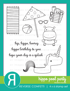 Hippo Pool Party Stamp Set